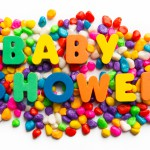 baby shower words on colorful stone