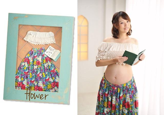 花柄スカートとレーストップスの衣装
