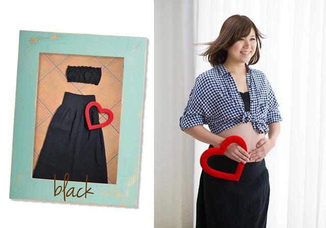 カジュアルな黒のトップスとスカートのセット