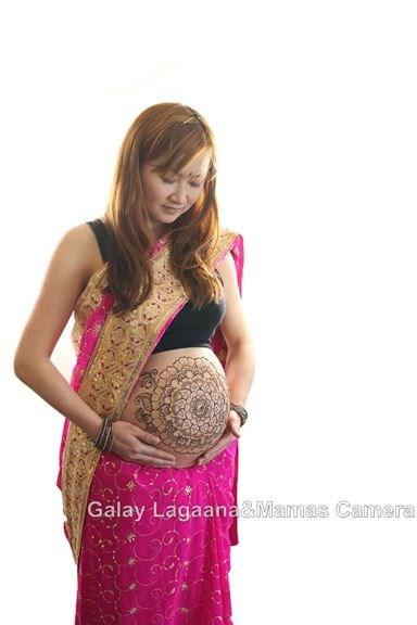 メヘンディアートサリー衣装濃いピンク
