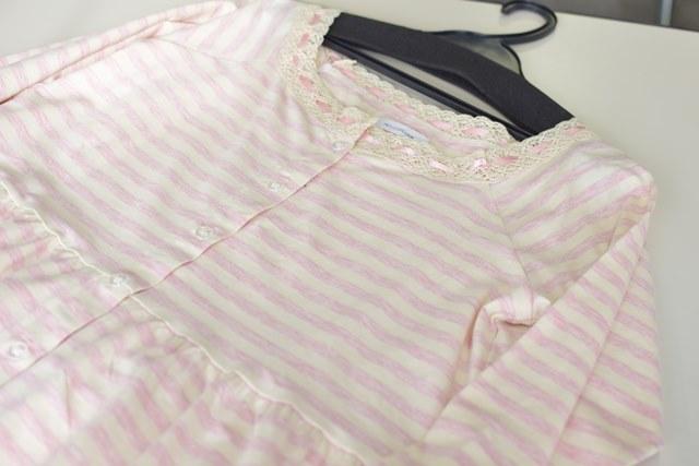 春夏のピンクのペールトーンのボーダーマタニティパジャマ